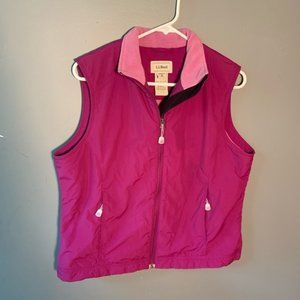 L.L. Bean Sleeveless Vest Magenta Fleece Lined